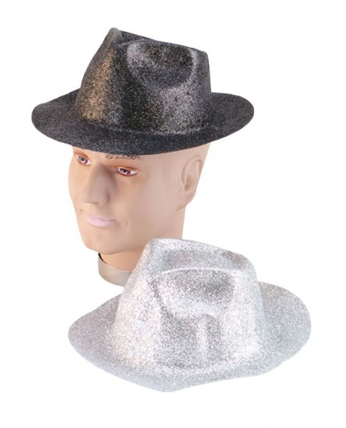 Glitter Silver Plastic Trilby New-Years Party Cosmetic Artist